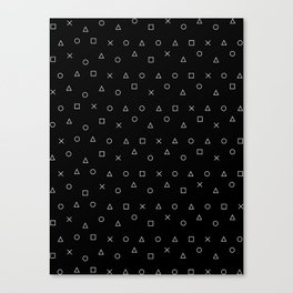 black gaming pattern - gamer design - playstation controller symbols Canvas Print