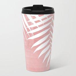 Pink Paint Stroke of Palm Leaves Metal Travel Mug