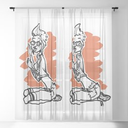 Graffiti Pinup (Alt) Sheer Curtain