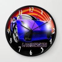 lamborghini Wall Clocks featuring Lamborghini Gallardo (2) by JT Digital Art