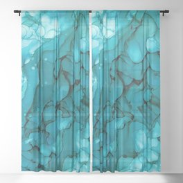 Turquoise Dip Abstract: Original Alcohol Ink Painting by Herzart Sheer Curtain