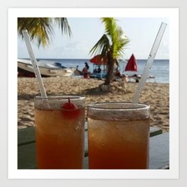 Rum on the beach Art Print