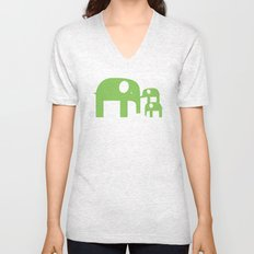 Green Elephants Unisex V-Neck