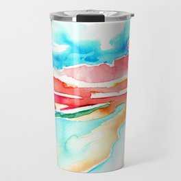 fire in the sky - beach at sunset Travel Mug