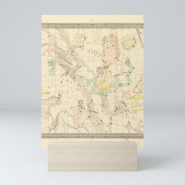 Vintage Map Print - 1853 colored celestial map - Libra, Sagitarius, Capricorn, Scorpio, etc. Mini Art Print