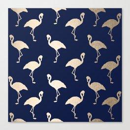Gold Flamingo Pattern Navy Blue Canvas Print