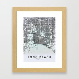 Long Beach, CA, USA, White, City, Map Framed Art Print