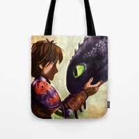 hiccup Tote Bags featuring How to Train Your Dragon - Hiccup and Toothless by p1xer