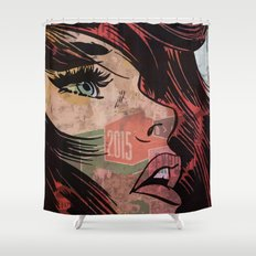 Comic girl affiche poster Shower Curtain