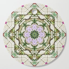 Orchids And Stone Wall Kaleidoscope 1764 Cutting Board