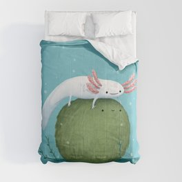 Axolotl on a Mossball Comforters