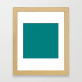 Classic Teal Simple Solid Color All Over Print Framed Art Print