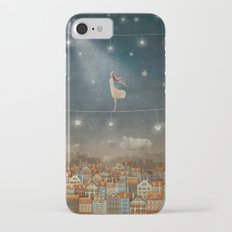 Illustration of  cute houses and  pretty girl   in night sky iPhone 7 Slim Case