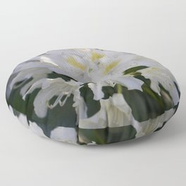 White Rhododendron Floor Pillow