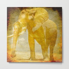 The elephant under a sandstorm Metal Print