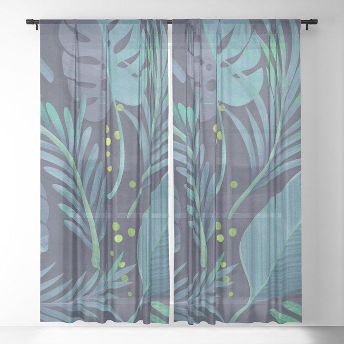 Dark Sensual Tropical Monstera Leaf Pattern Teal Navy Blue Sheer Curtain