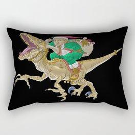 Christmas Elf Riding a Velociraptor Rectangular Pillow
