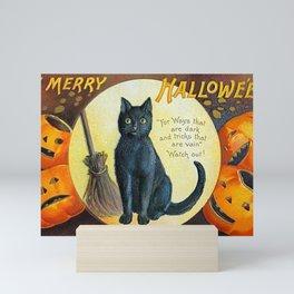 Merry Halloween Black Cat Mini Art Print