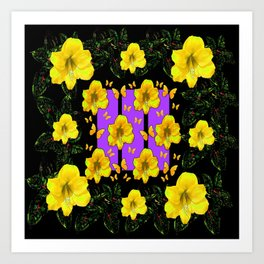 BLACK ART  YELLOW AMARYLLIS FLOWERS BUTTERFLY FLORAL Art Print
