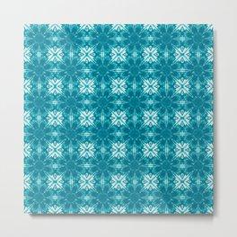 Turquoise Floral Geometric Metal Print