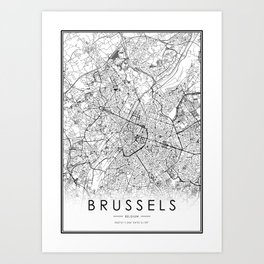 Brussels City Map Belgium White and Black Art Print