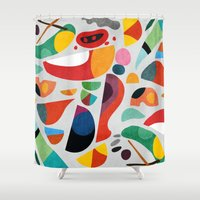 kitchen Shower Curtains featuring Still life from god's kitchen by Picomodi