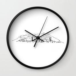 El Paso Skyline Drawing Wall Clock