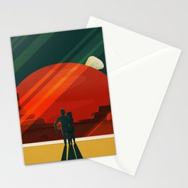 THE MOONS OF MARS - Phobos & Deimos | Space | X | Retro | Vintage | Futurism | Sci-Fi | Two Stationery Cards