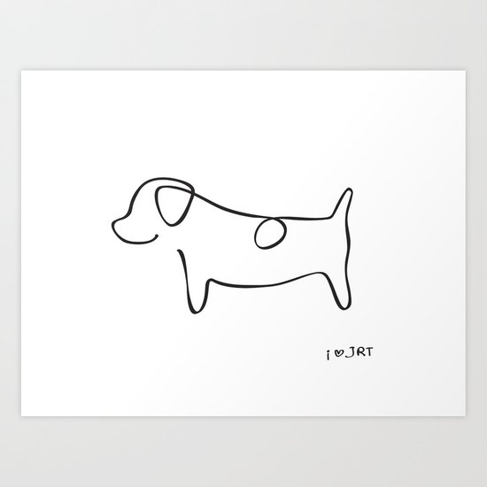 Abstract Jack Russell Terrier Dog Line Drawing Art Print By Li Kim Goh