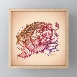 Koi Fish and Lotus Flower Framed Mini Art Print