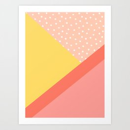Geometric Daylight - Coral Art Print