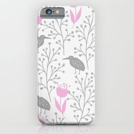 Kiwi Garden - Pink and Gray iPhone Case