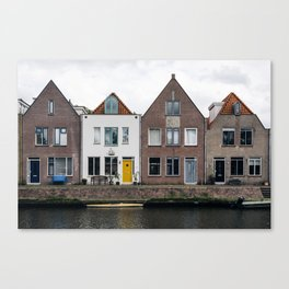 Row houses and Canal in The Netherlands Canvas Print