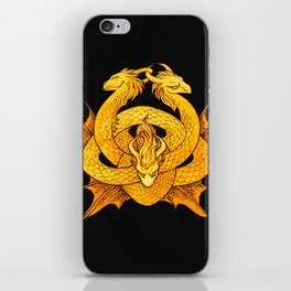 Gold Dragon Knot iPhone Skin