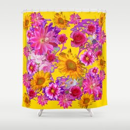 GOLDEN FLORAL TAPESTRY OF ASSORTED PINK  FLOWERS Shower Curtain