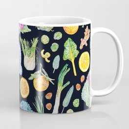 Winter Harvest Pattern Dark Coffee Mug