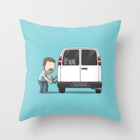 sticker Throw Pillows featuring Family Car Sticker by See Mike Draw