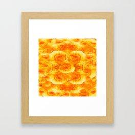 MODERN  GOLDEN ROSES FLOWERS CARPET Framed Art Print