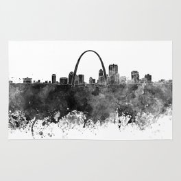 St Louis skyline in black watercolor Rug