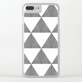 Cement White Triangles Clear iPhone Case