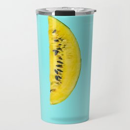 Yellow watermelon slice floating in the air Travel Mug
