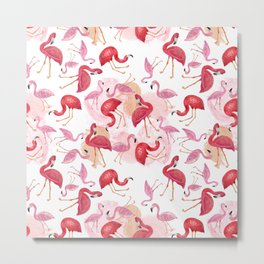 Watercolor Flamingos Metal Print