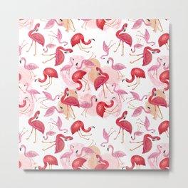 Watercolor Flamingos Metal Print