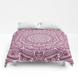 Wine Maroon Ethnic Detailed Textured Mandala Comforters