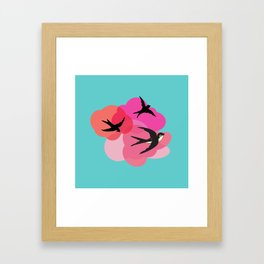 Spring swallows and clouds Framed Art Print