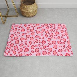 Modern pink red leopard spots pattern illustration on lavender Rug