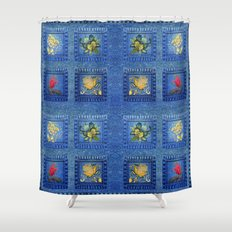 Denim Square Patches Shower Curtain
