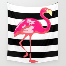 Flamingo, black and white stripes Wall Tapestry