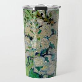 White Rose In A Vase Vincent van Gogh 1890 Oil on Canvas Still Life With Floral Arrangement Travel Mug