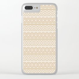 Gold and White Classic Nordic Christmas Pattern Clear iPhone Case